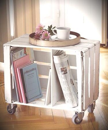 Mesita de lecturas o porta revista con cajas recicladas